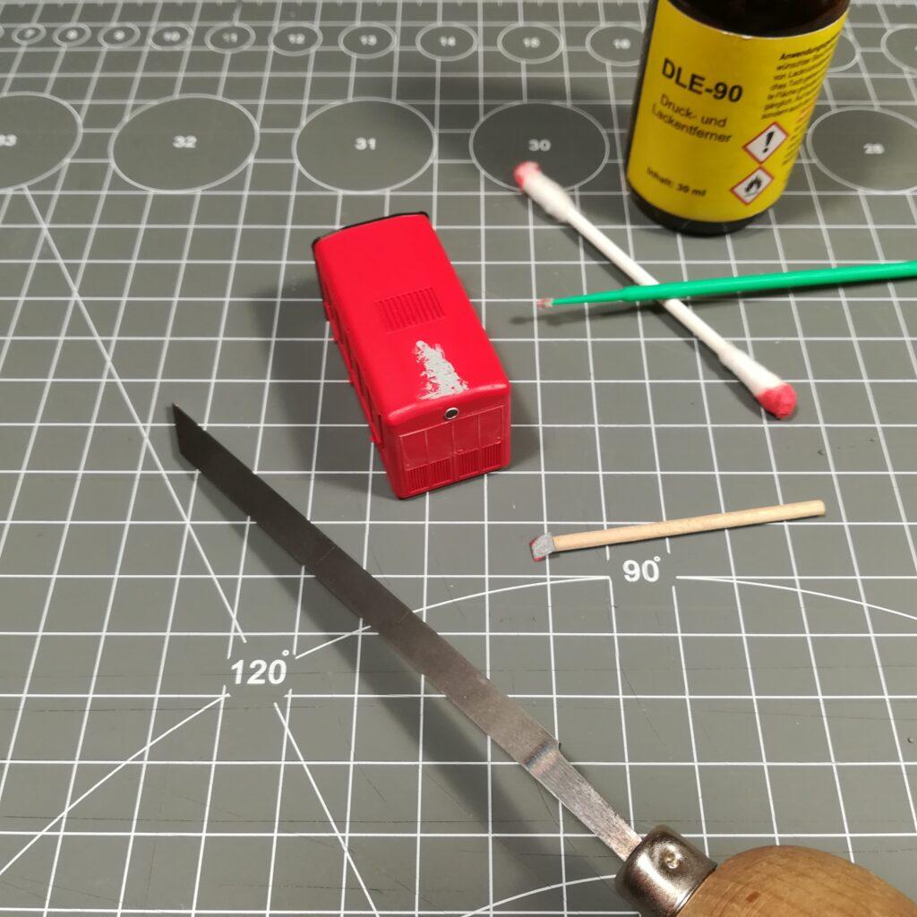 Teil-bearbeiteter Vorbau des Brawa-Modells