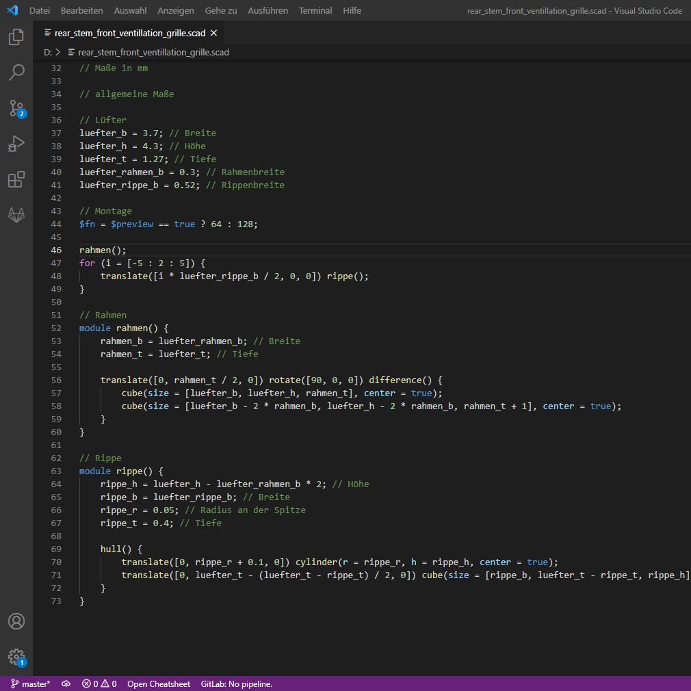 Visual Studio Code: Beschreibung des Gitters für OpenSCAD